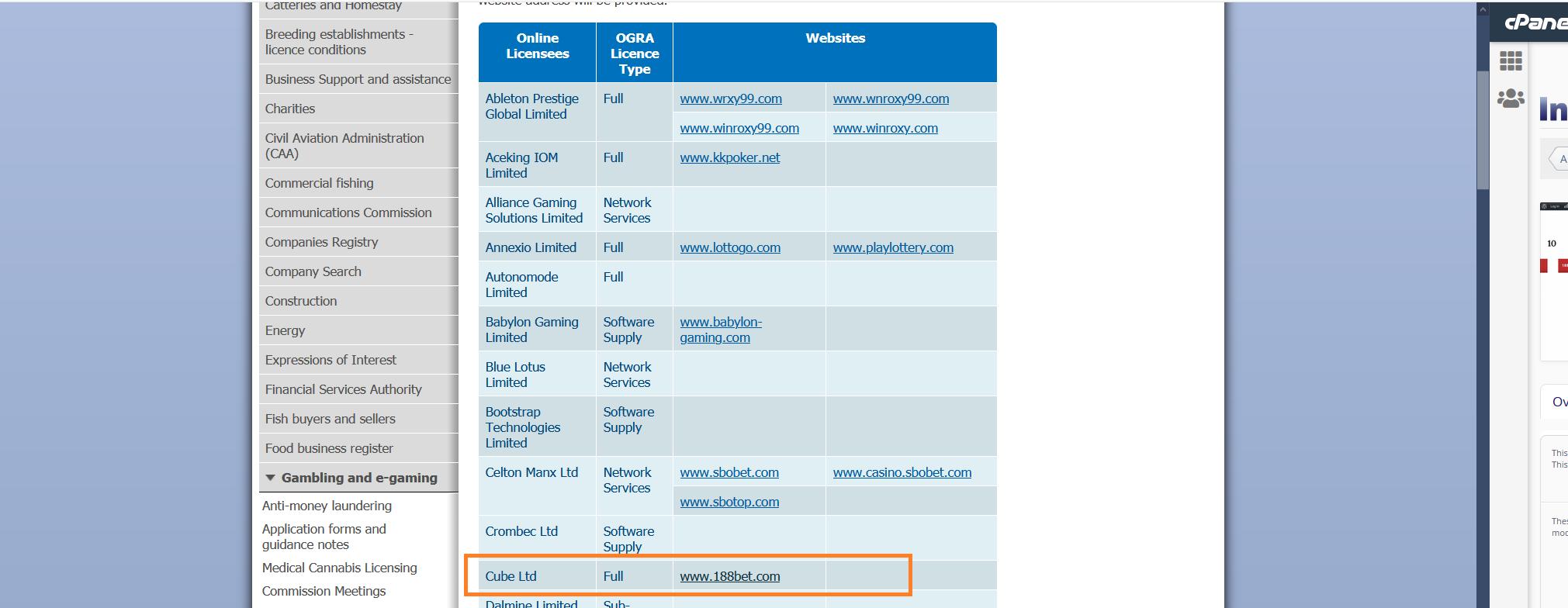 Isle of Man(맨섬 국가 공식 정부 웹사이트)에 등록된 188BET